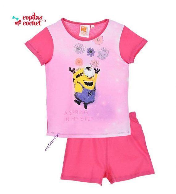 Pijamale de vara Minions (fucsia) 1