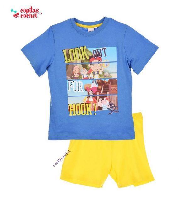Pijamale de vara Jake si Piratii (albastru-galben) 1