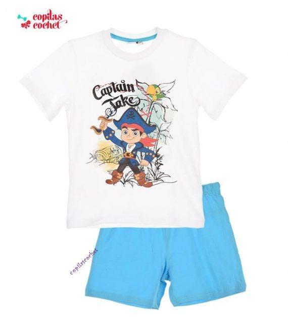 Pijamale de vara Jake si Piratii (alb-albastru) 1