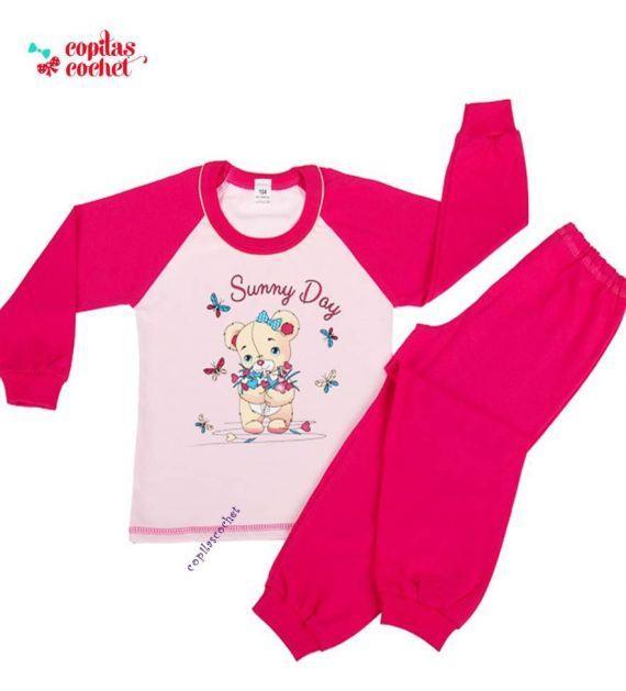 Pijamale vatuite Ursulet flori 1