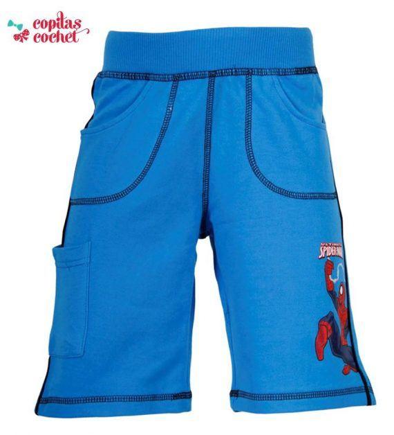 Pantaloni srti Spiderman (albastru) 1
