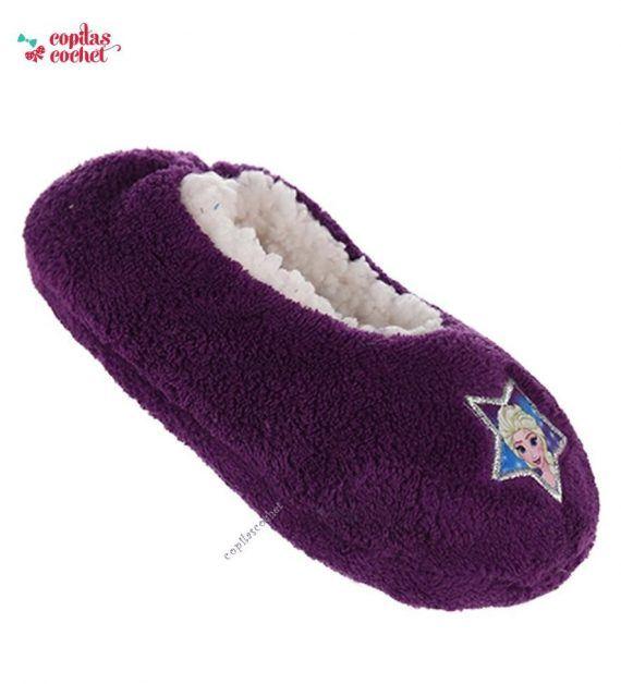 Papucei de casa Frozen (mov) 1