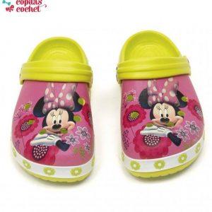 Saboti de plaja Minnie Mouse (roz-verde) 1