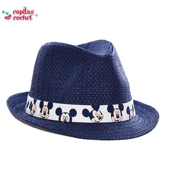 Palarie de paie Mickey Mouse (bleumarin) 1