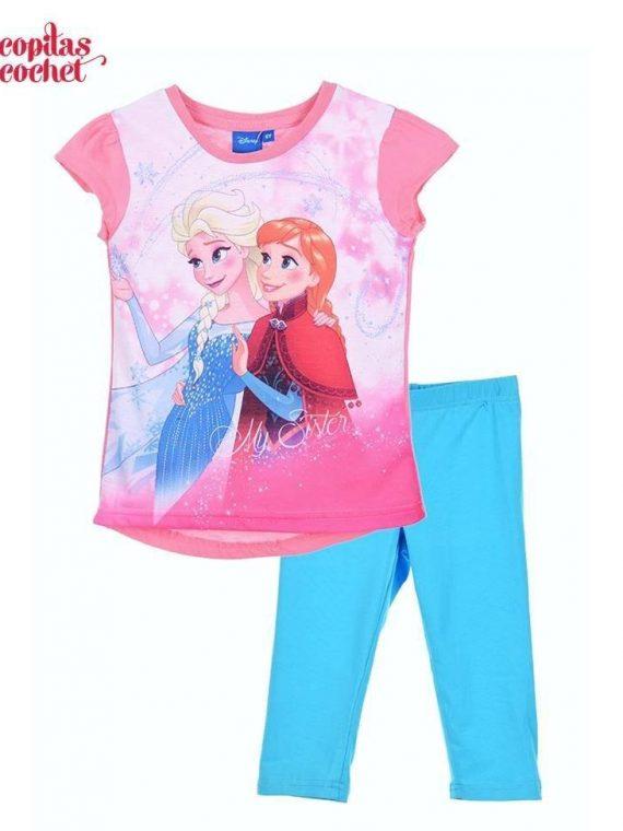 Compleu tricou colanti Frozen (roz-turcoaz) 1