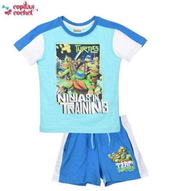 Compleu tricou pantaloni srti Testoasele Ninja (albastru) 1