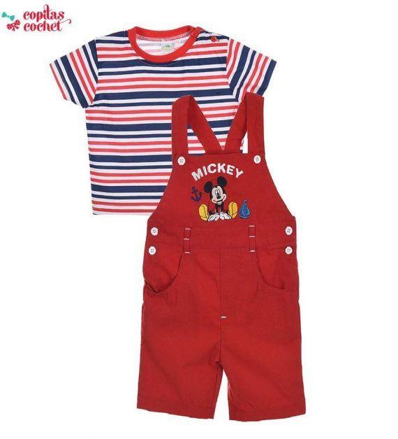 Compleu salopeta tricou Mickey Mouse (rosu) 1