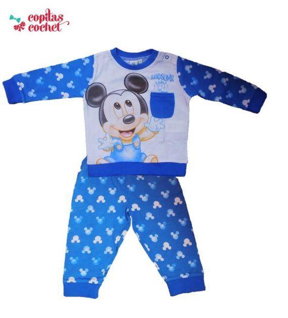 Pijamale bebe Mickey Mouse (albastru)in tie 1