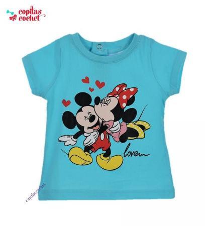 Tricou bebe Minnie&Mickey Mouse (turcoaz)