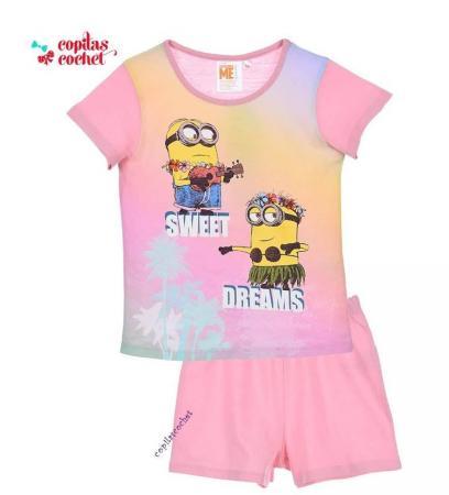 Pijamale de vara Minions (roz)