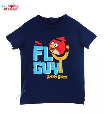 Tricou bebe Angry Birds (bleumarin)