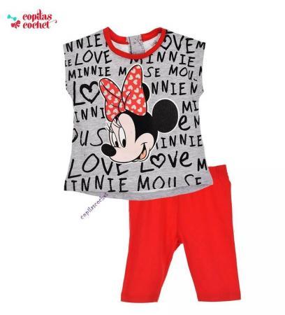 Compleu bebe Minnie Mouse (gri-rosu)