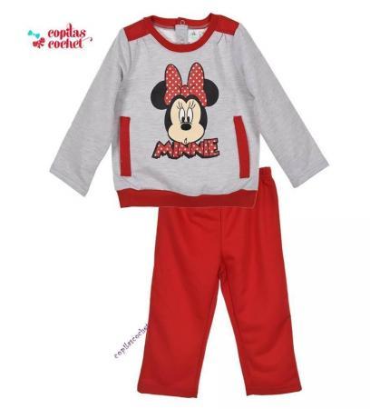 Trening bebe Minnie Mouse (gri-rosu)