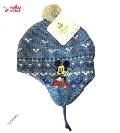 Caciula captusita bebe Mickey Mouse (albastru)