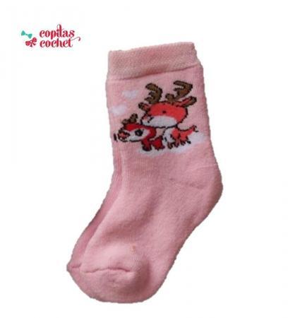 Sosete flausate bebe(roz)