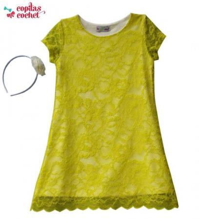 Rochie dantela galbena bentita asortata (3-6 ani )