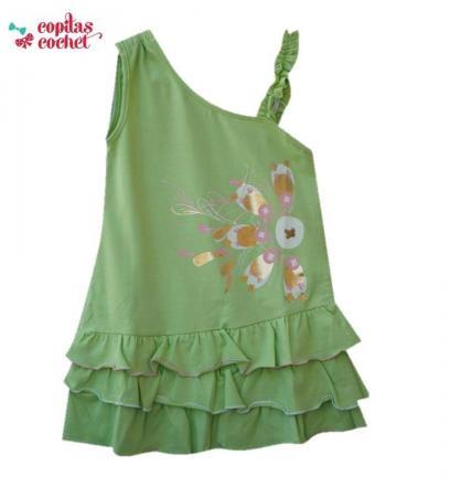 Rochie verde volanase