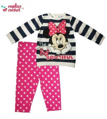 Compleu bebe Minnie Mouse (dungi bleumarin)