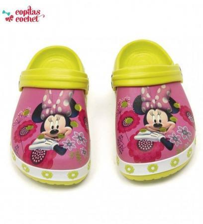 Saboti de plaja Minnie Mouse (roz-verde)