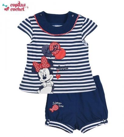 Compleu de vara bebe Minnie Mouse (bleumarin)