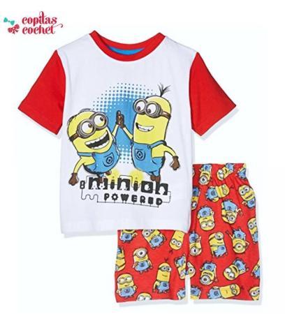 Pijamale de vara Minions (alb-rosu)