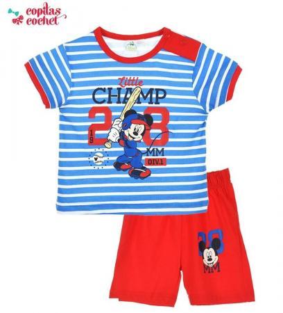Compleu bebe Mickey Mouse (rosu-albastru)