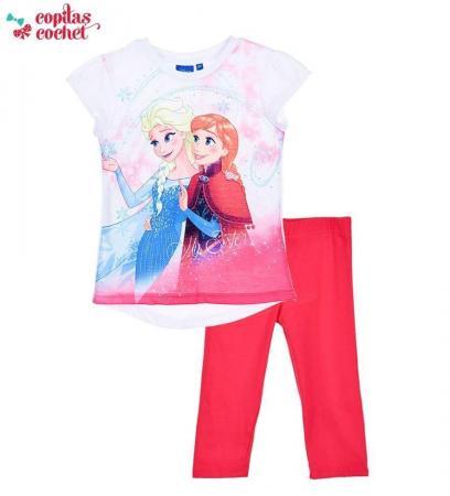 Compleu tricou colanti Frozen (alb-fucsia)
