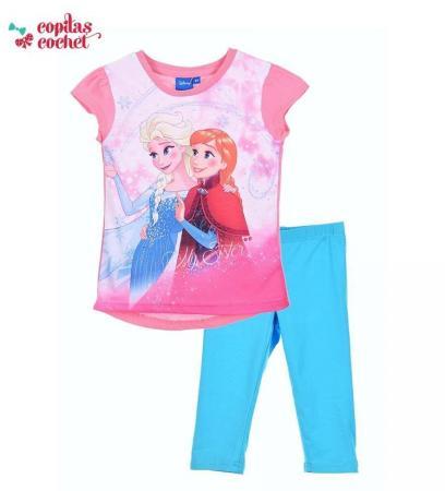 Compleu tricou colanti Frozen (roz-turcoaz)