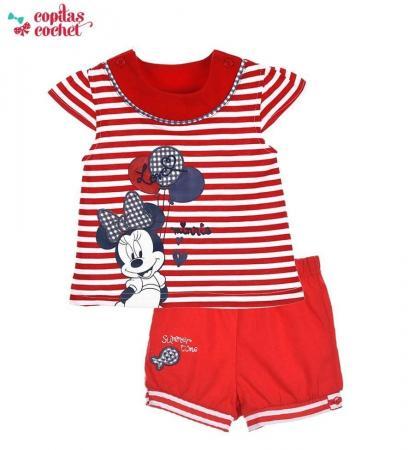 Compleu de vara bebe Minnie Mouse (rosu)
