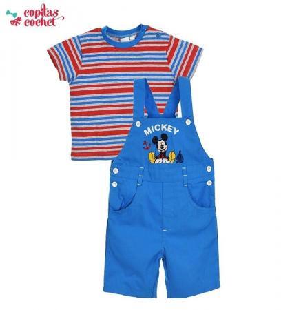 Compleu salopeta tricou Mickey Mouse (albastru)