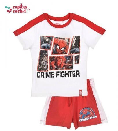 Compleu de vara Spiderman (alb-rosu)