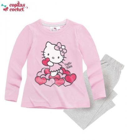 Pijamale Hello-Kitty (roz-gri)