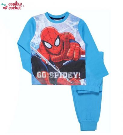 Pijamale Spiderman manseta (albastru)