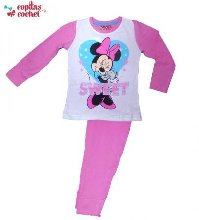 Pijamale Minnie Mouse (alb-roz)