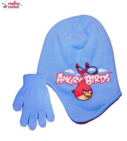 Set caciula captusita+manusi Angry Birds (bleu)